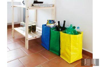 Szelektív hulladékgyűjtő vászon táska, 3 színben 21 l 3791