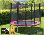 trambulin biztonsági hálóval, 250cm, piros