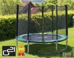trambulin biztonsági hálóval 250 cm, zöld