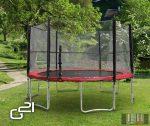 trambulin biztonsági hálóval, 430cm, piros