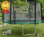 trambulin biztonsági hálóval 430 cm, zöld