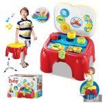 készségfejlesztő játék kockákkal hangokkal és ülőkével