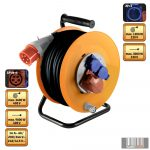 Home HJR 400-25 Kábeldob 2x230 V, 1x400 V aljzatok, 25 m 5G2,5 gumikábel