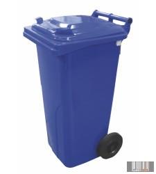 Külso hulladéktároló, szemetes kuka, kék színben, 120 literes, muanyag 0004-1