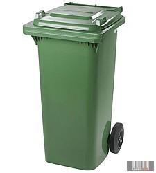 Külső hulladéktároló, szemetes kuka, zöld színben, 120 literes, műanyag 0004-2