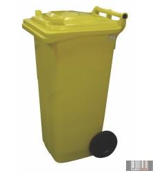 Külső hulladéktároló, szemetes kuka, sárga színben, 120 literes, műanyag 0004-4