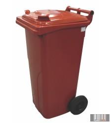 külső hulladéktároló, szemetes kuka, piros színben, 120 literes, műanyag 0004-6