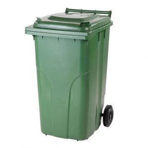 külső hulladéktároló, szemetes kuka, zöld színben, 240 literes, műanyag HUL-0005-2