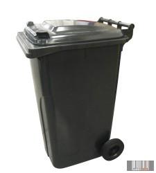 Külső hulladéktároló, szemetes kuka, fekete színben, 240 literes, műanyag HUL-0005-3