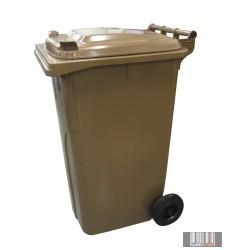külső hulladéktároló, szemetes kuka, barna színben, 240 literes, műanyag HUL-0005-5