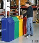 HUL-5031-6 70 literes fém hulladékgyűjtő billenő fedéllel - piros