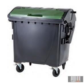 Image of 1100 L Műanyag, Gömbölyű, FEDÉL A FEDÉLBEN Konténer - Szelektív ÜVEG